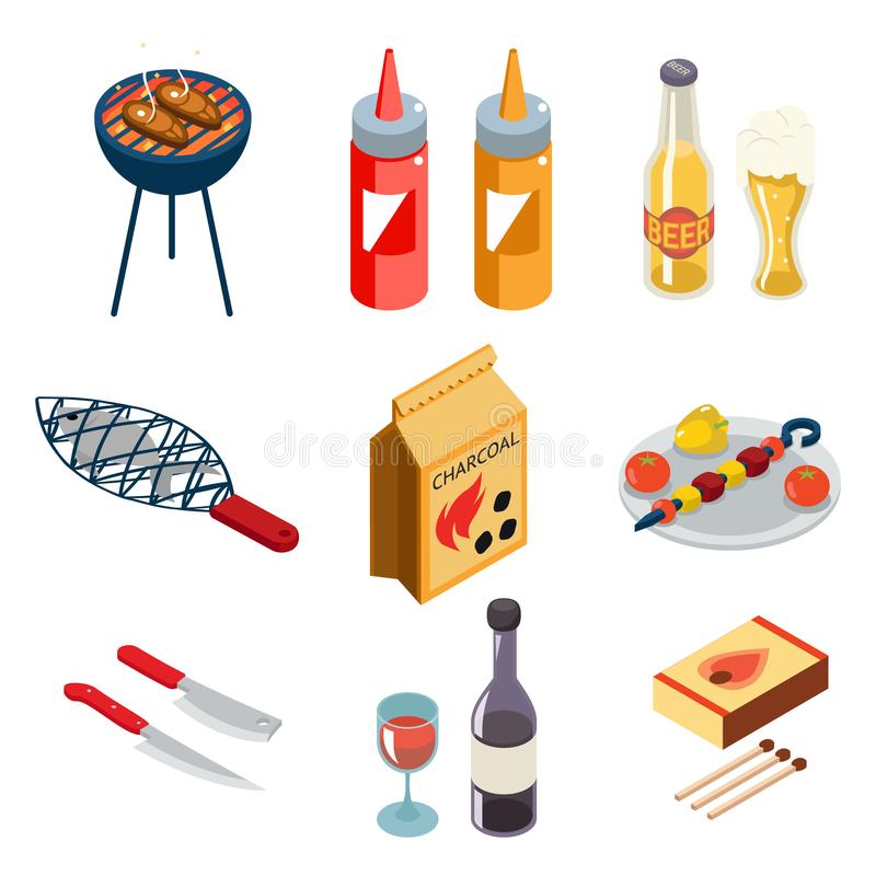 Barbecue grill cooking meat steak picnic nature party isometric flat design icons set vector illustration stock illustration