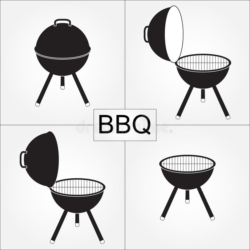 Barbecue grill with cover isolated on white background. BBQ icons set. Vector illustration. vector illustration