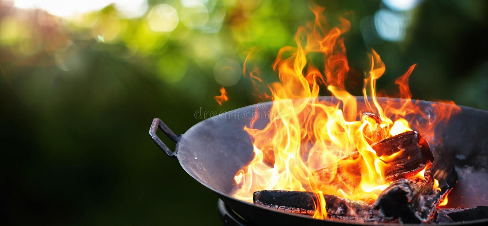 Barbecue Grill. Fire flame. Barbecue grill with fire on nature. Fire flame stock photography