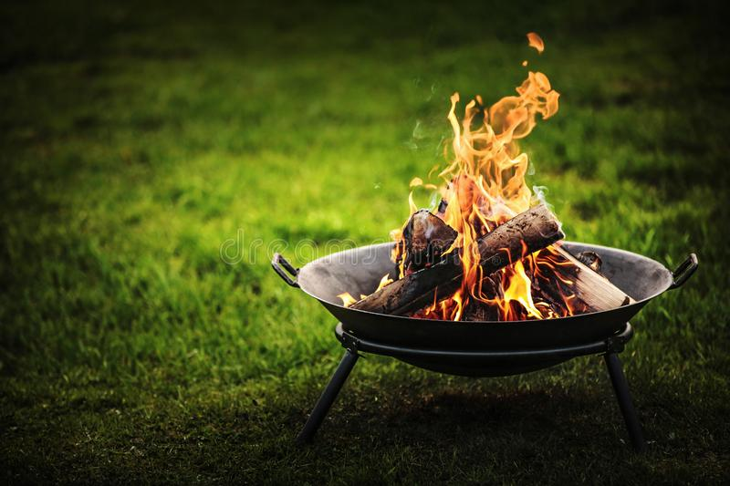 Barbecue Grill with Fire. On Nature stock photo