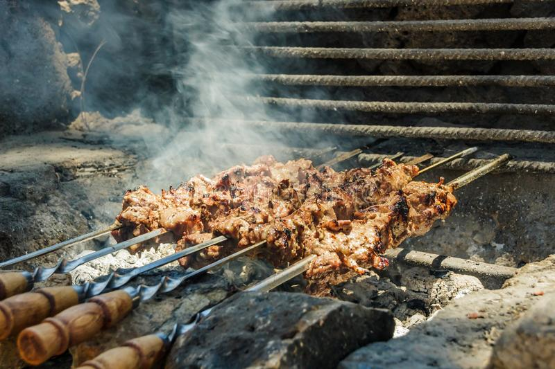 Barbecue on the grill in the forest. Meat on fire, cooking on the BBQ. Pork on the skewer. Delicious outdoor food. Blurred. Background of nature royalty free stock photography