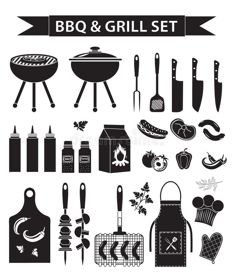 Barbecue and grill icons set, black silhouette, outline style. BBQ collection of objects, elements of design, logo. Isolated on white background. Vector stock illustration