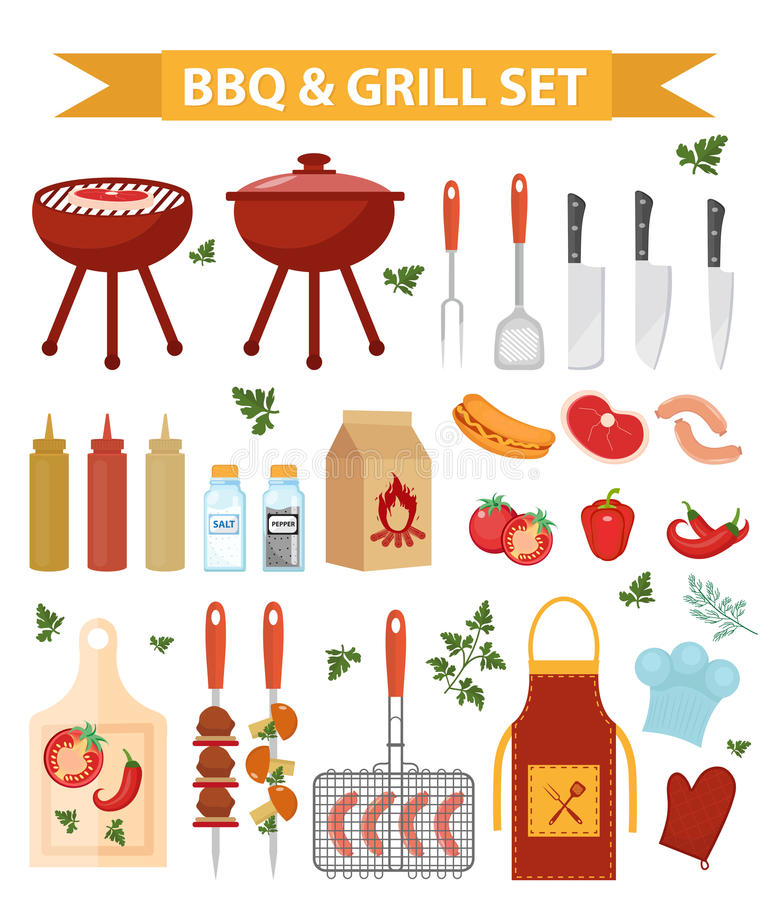 Barbecue and grill icons set, flat or cartoon style. BBQ collection of objects, elements of design. Isolated on white royalty free illustration