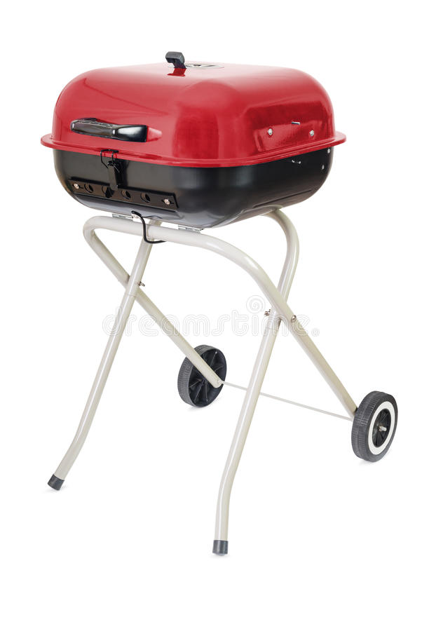 Barbecue grill. Kettle barbecue grill with cover isolated on white royalty free stock photography
