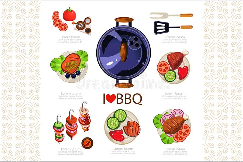 Barbecue grill, kitchen utensils for cooking and various dishes. Steak, chicken, kebab, fish, pork. Delicious grilled vector illustration