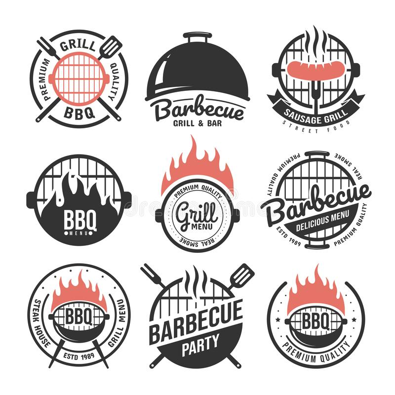 Barbecue and grill labels set. BBQ emblems and badges collection. Restaurant menu design elements. Vector illustration stock illustration