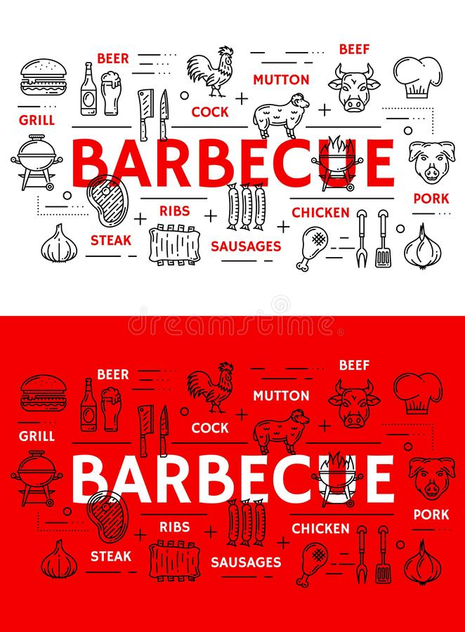 Barbecue meat and sausages grill line icons. Barbecue grill meat poster and sausages line icons. Vector BBQ restaurant, steak house or bar menu of beefsteak royalty free illustration