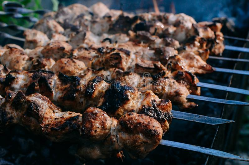 Barbecue. In the grill in nature, meat, shashlik, kebab, food, grilled, pork, shish, skewer, grilling, bbq, dinner, meal, lamb, roast, hot, beef, cooking royalty free stock images