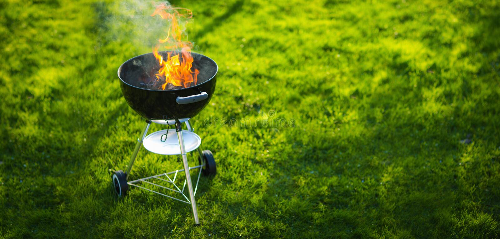 Barbecue Grill in the Open Air. Summer Holidays royalty free stock photography