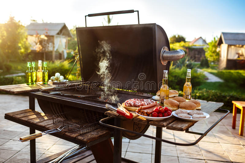 Barbecue grill party. Tasty food on wooden desk. royalty free stock photos