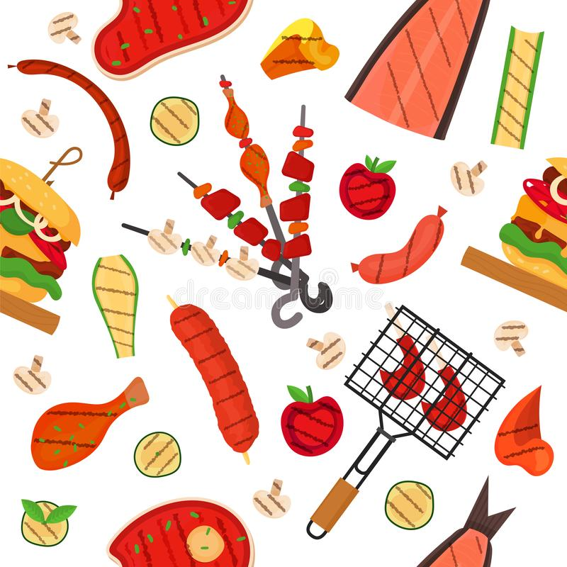 Barbecue grill pattern, background. Barbecue grill cartoon elements pattern. Cookout BBQ background for party BBQ invitation, menu, poster design. Backdrop with stock illustration