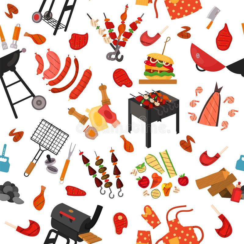 Barbecue grill pattern, background. Barbecue grill cartoon elements pattern. Cookout BBQ background for party BBQ invitation, menu, poster design. Backdrop with royalty free illustration