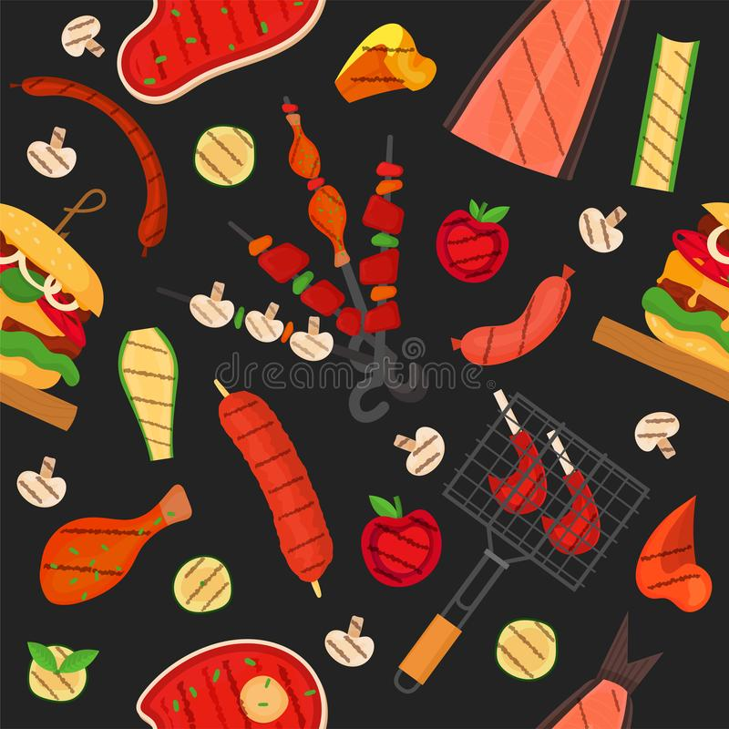 Barbecue grill pattern, background. Barbecue grill cartoon elements pattern. Cookout BBQ background for party BBQ invitation, menu, poster design. Backdrop with vector illustration