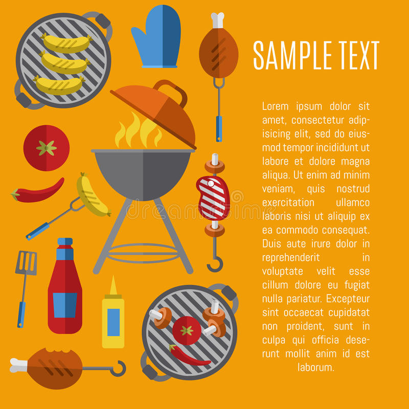 Barbecue grill poster, design template. vector illustration