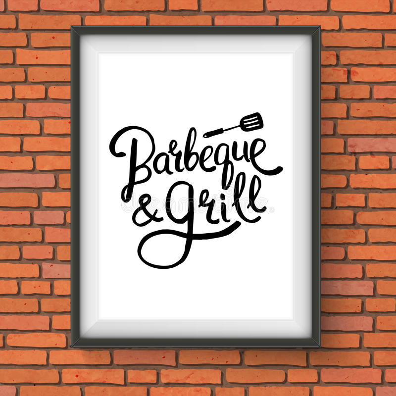 Barbecue and Grill Restaurant Sign on Brick Wall. Vector Illustration of Framed Barbecue and Grill Restaurant Sign with Lifter Graphic Hanging on Red Brick Wall stock illustration