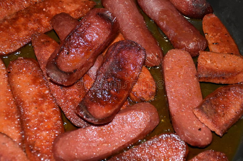 Barbecue and Grill. Sausages and Salamis stock photos