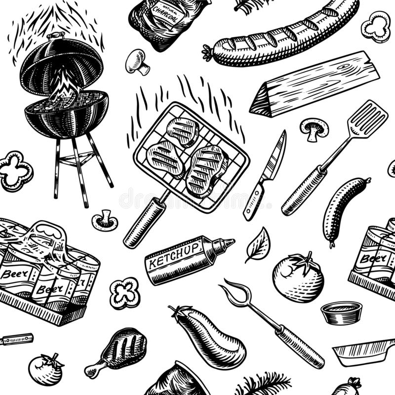 Barbecue grill seamless pattern in vintage style. Drawn by hand. Bbq party ingredients. Hot grill food, beer and tools royalty free illustration