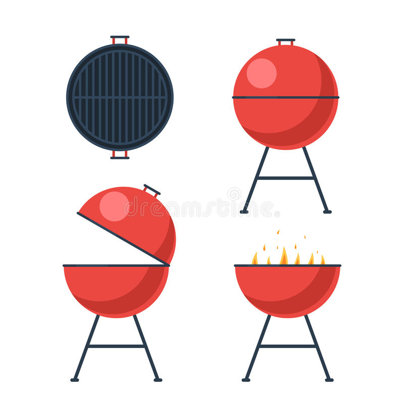 Barbecue grill set vector illustration