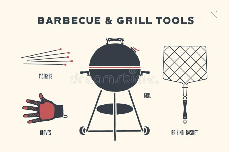 Barbecue and grill tools. Barbecue, grill set. Poster bbq diagram and scheme - barbecue grill tools. Set of bbq stuff, Webber Grill, tools for steak house stock illustration
