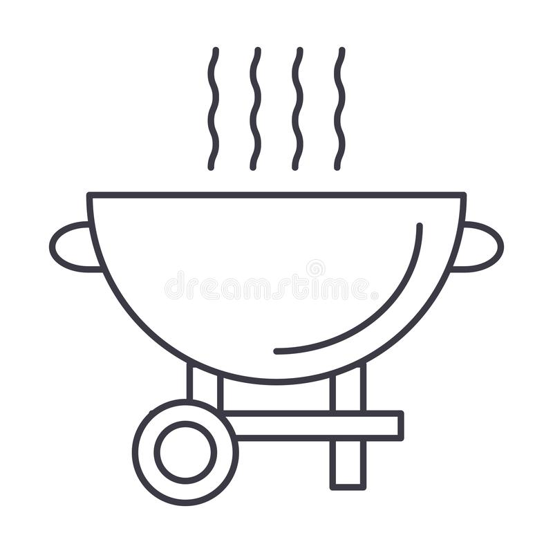 Barbecue grill vector line icon, sign, illustration on background, editable strokes royalty free illustration