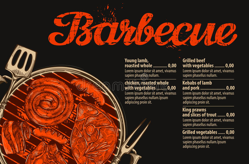 Barbecue, grill. Vector template of menu design for restaurant, cafe. Hand drawn sketch food, meat royalty free illustration