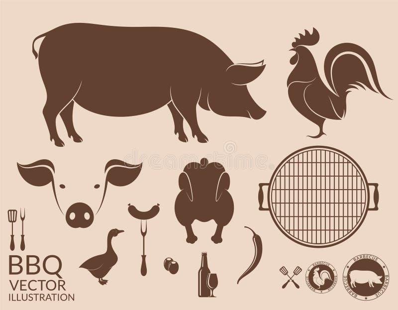 barbecue grilla odizolowywającego świnia Kurczak ilustracji