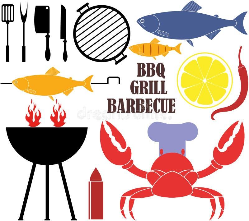 barbecue grilla odizolowywającego royalty ilustracja