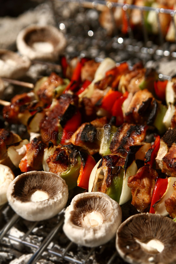 Barbecue with grilled meat royalty free stock photo