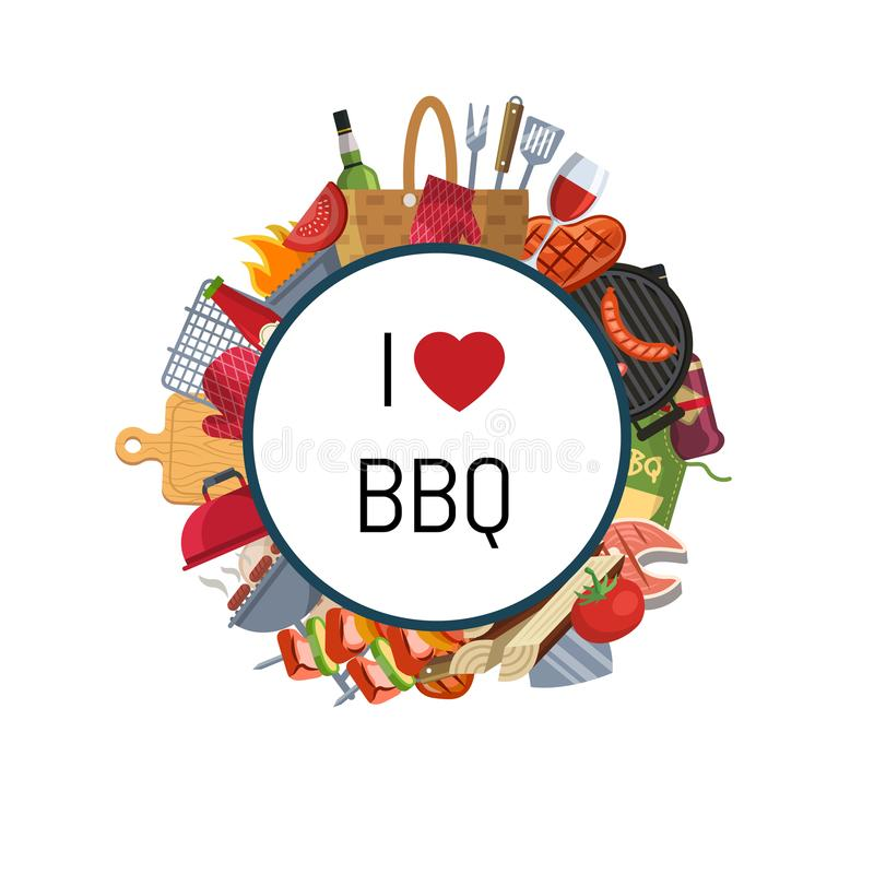 Barbecue of grillelementen rond cirkel vector illustratie