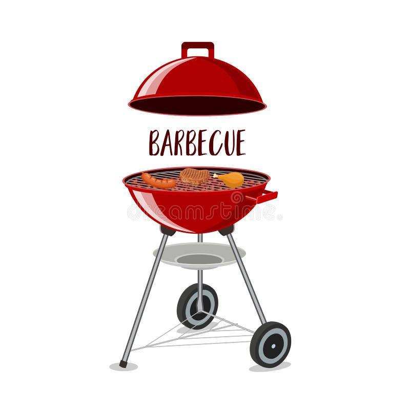 Barbecue of grillpartijpictogram vector illustratie