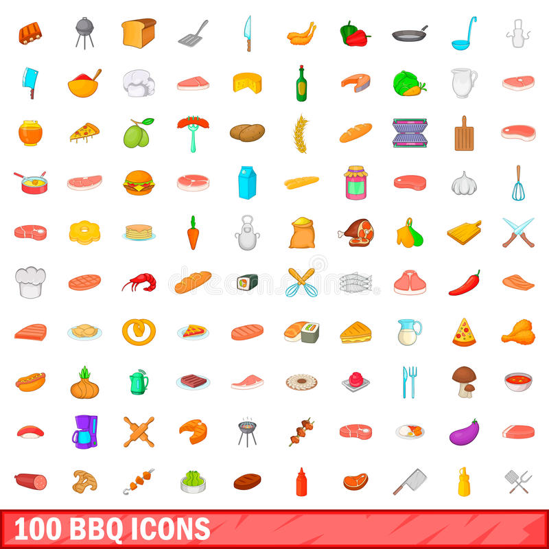 100 barbecue icons set, cartoon style royalty free illustration