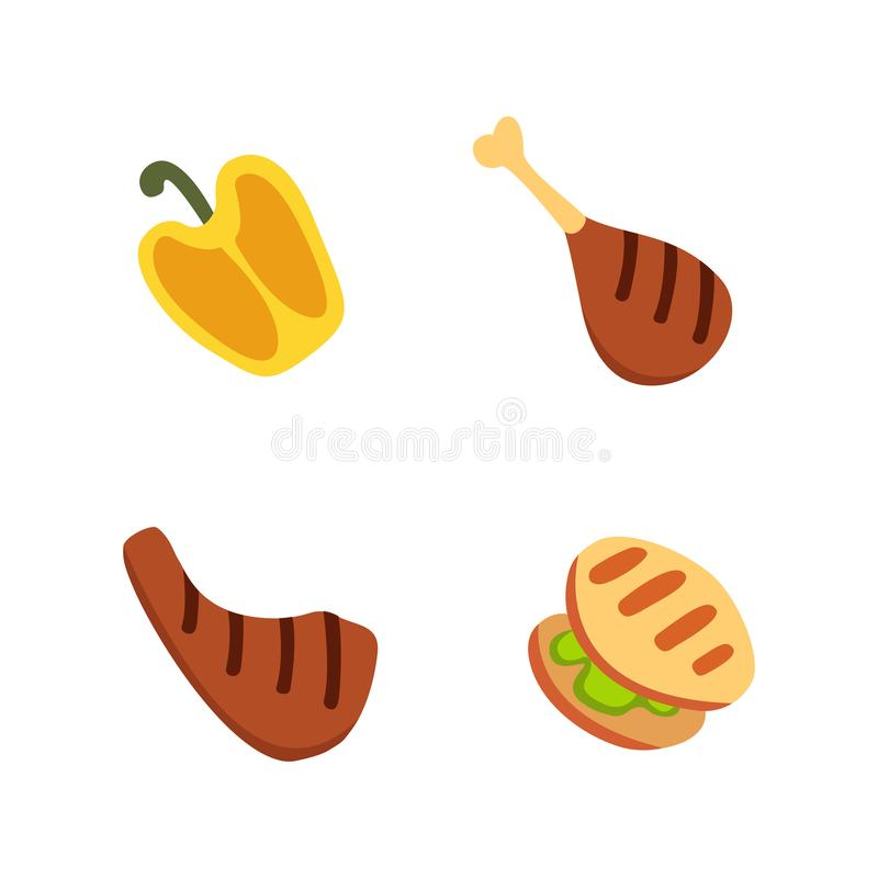 Barbecue icons set. Grill food, bbq, roast, steak cartoon vector illustration. Barbecue icons set. Grill food, bbq, roast, steak cartoon vector illustration stock illustration