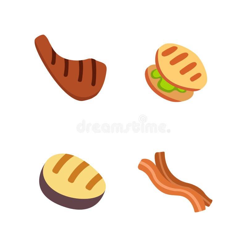 Barbecue icons set. Grill food, bbq, roast, steak cartoon vector illustration. royalty free illustration