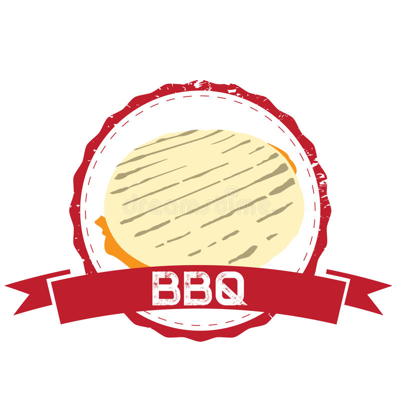 Barbecue. Isolated barbecue label with an arepa, Vector illustration royalty free illustration