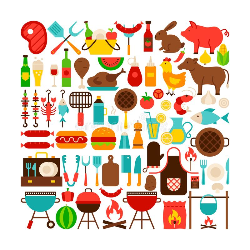 Barbecue Isolated Objects Big Set royalty free illustration