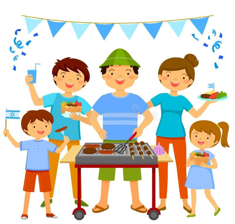 Barbecue israélien de Jour de la Déclaration d'Indépendance illustration stock