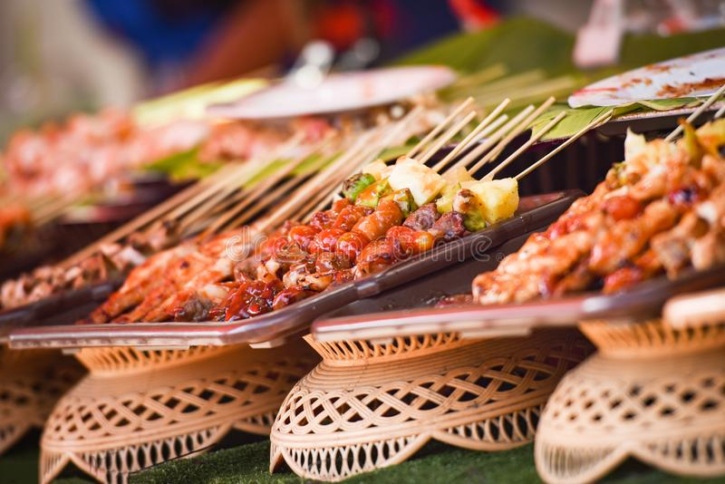 Barbecue. Juicy shish kebab on the grill royalty free stock photos