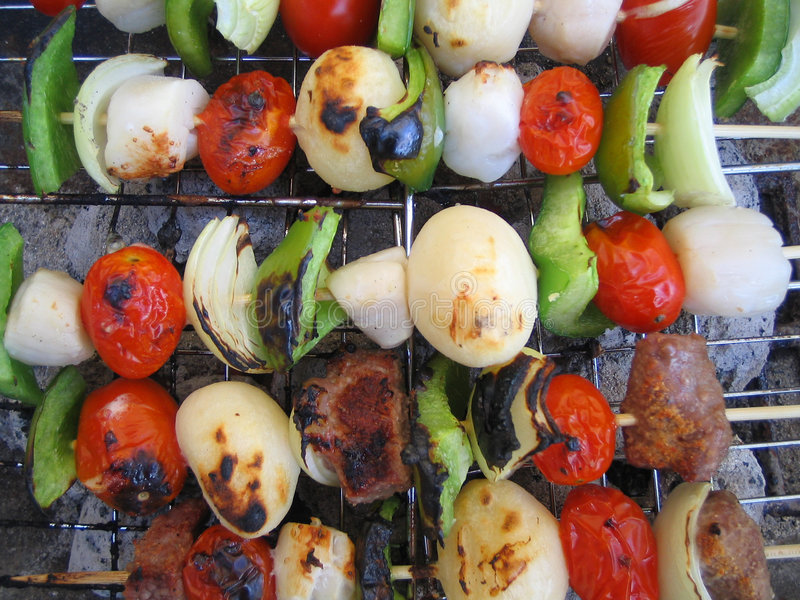 barbecue kabobs stock afbeelding