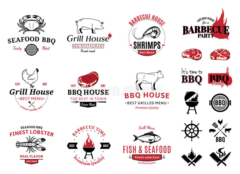 Barbecue, logos de fruits de mer, labels et éléments de conception illustration stock