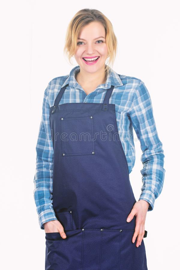 Barbecue master. Woman checkered shirt and apron for cooking white background. Picnic and barbecue. Grilling food royalty free stock photos