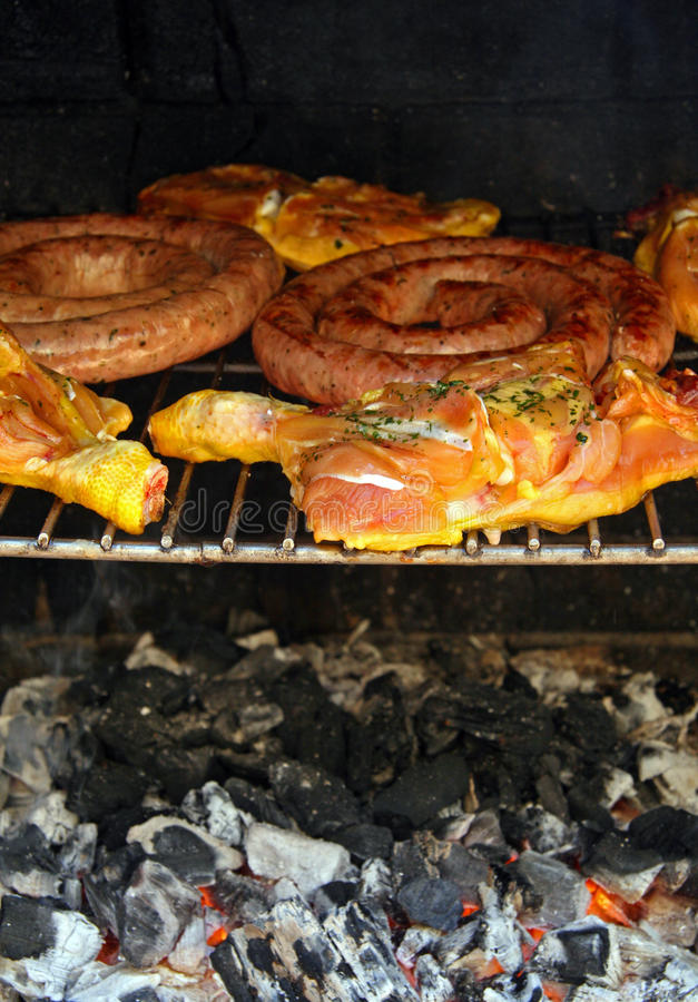 Barbecue of meat. In the garden of house royalty free stock photography