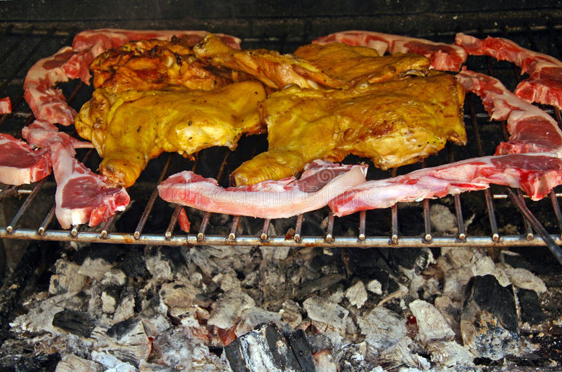 Barbecue of meat. In the garden of house stock photo