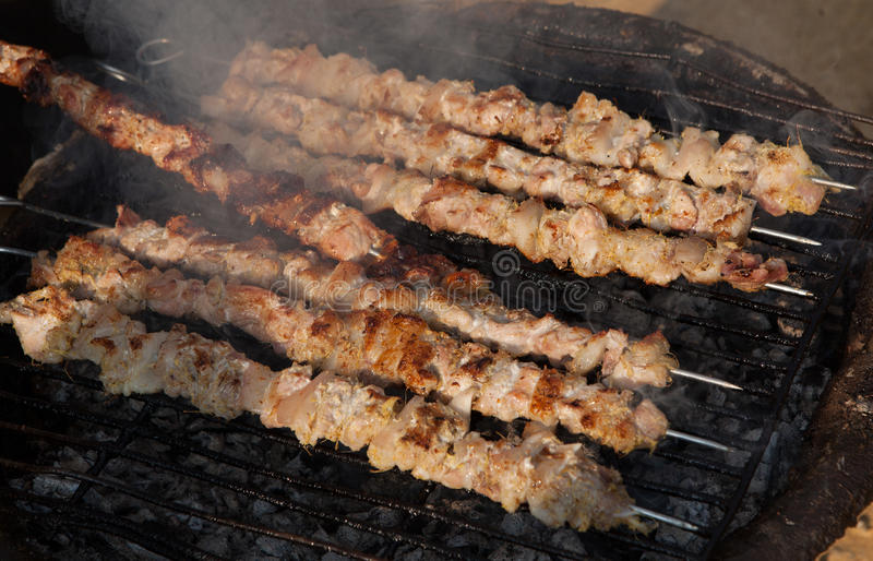 Barbecue meat - the ingredient of famous Vietnamese noodle soup. With BBQ meat, spring roll, vermicelli and fresh vegetable (called 'Bun Cha' in Vietnamese stock photos