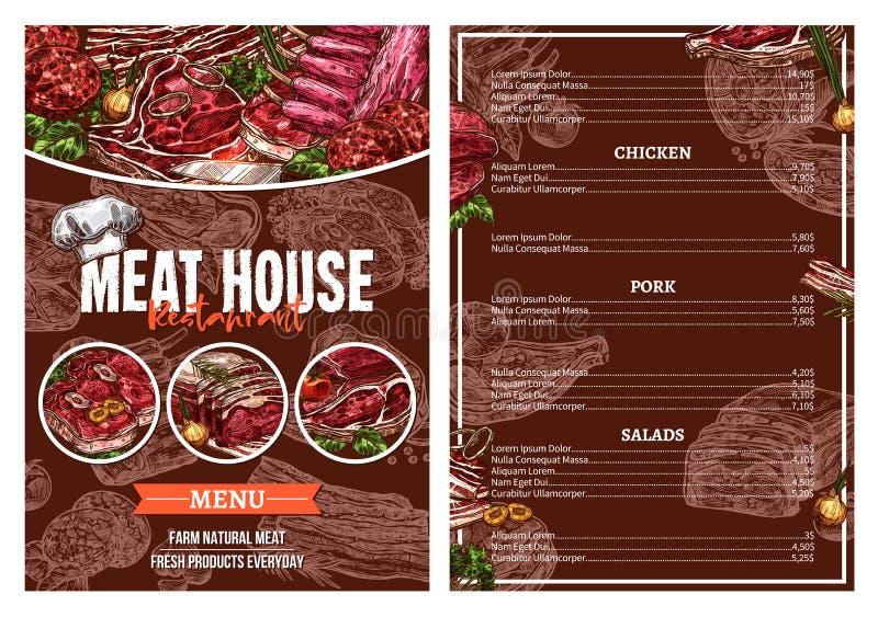 Barbecue Meat Menu For Restaurant Brochure Design Stock Vector