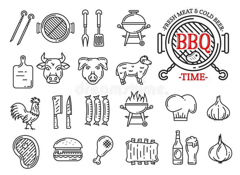 Barbecue meat and sausages grill bar line icons. Barbecue restaurant, steak house or sausage grill bar and menu line icons. Vector signs of BBQ grill with vector illustration