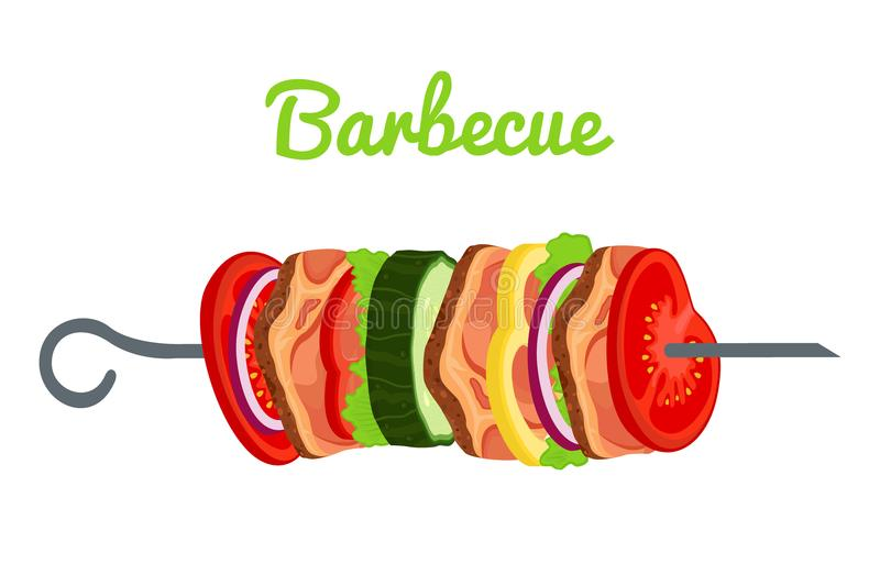 Barbecue with meat, vegetables. Fried meat for picnic. Vector illustration. Barbecue with meat, vegetables. Fried meat for picnic. Made in cartoon flat style royalty free illustration