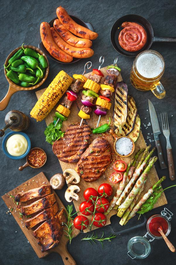 Download Grilled Meat And Vegetables On Rustic Stone Plate Stock Image - Image of barbecue, corn: 116090279