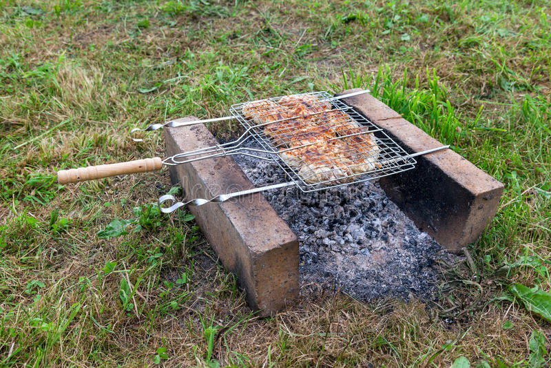 Barbecue met heerlijk geroosterd vlees royalty-vrije stock fotografie