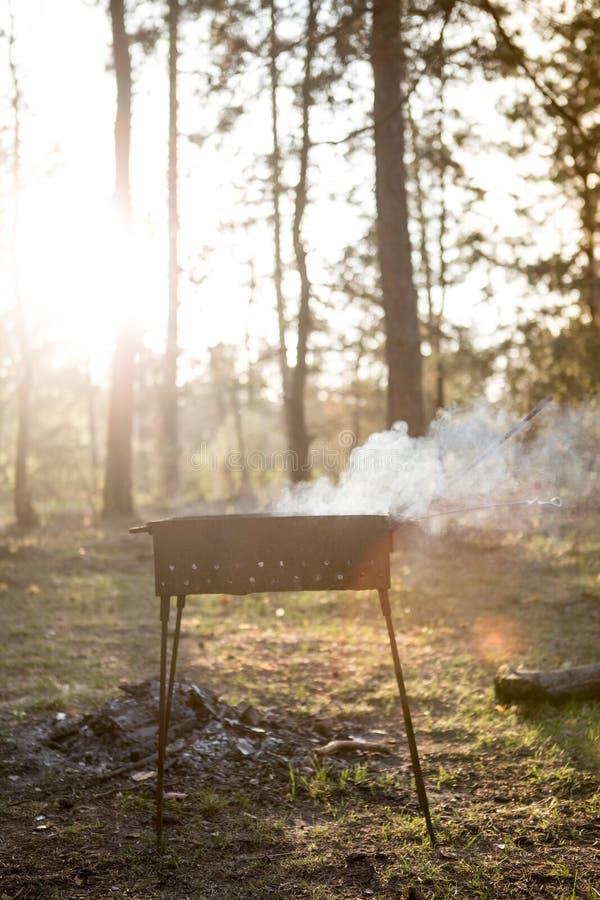 Barbecue nel barbecue della foresta al tramonto immagine stock libera da diritti