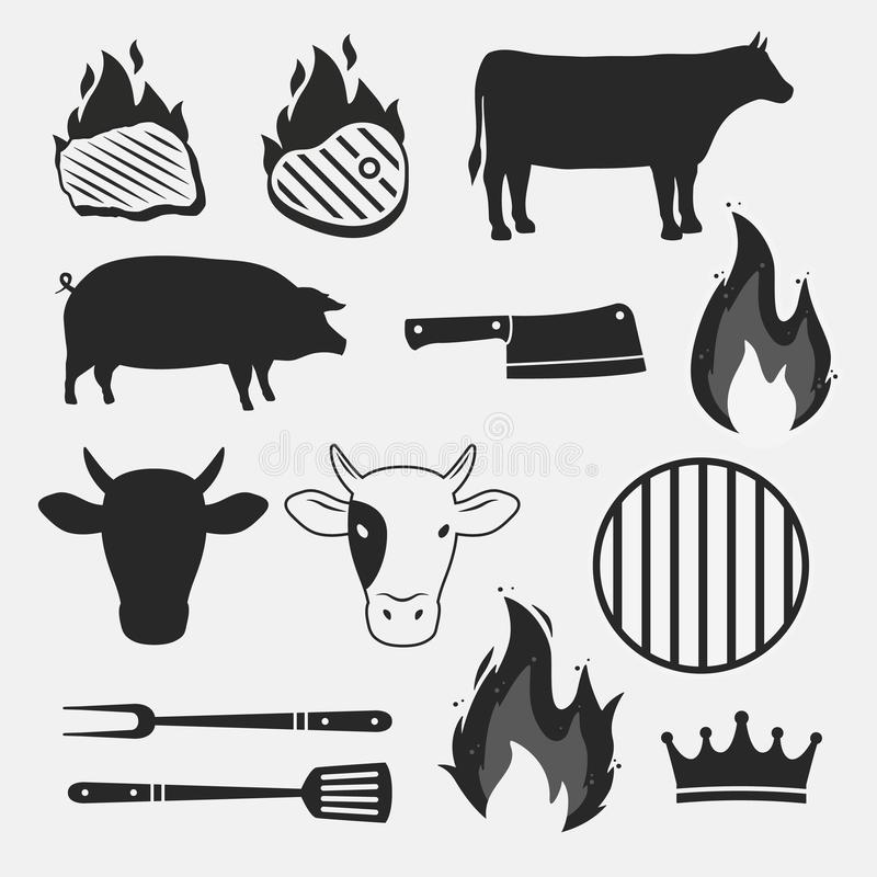 Barbecue objects set isolated on white background. Animal silhouettes, fire flames and grill items. vector design elements. royalty free illustration